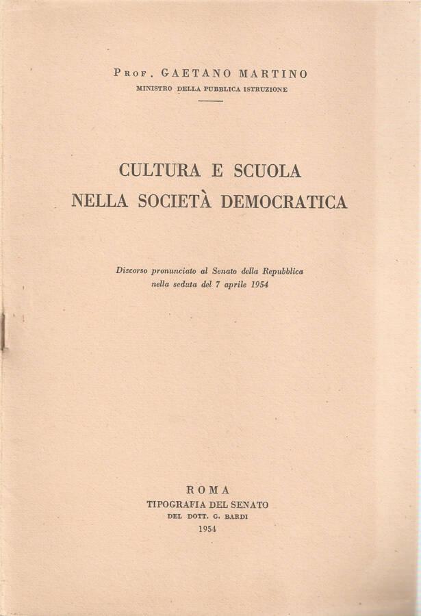 Cultura e scuola nella società democratica