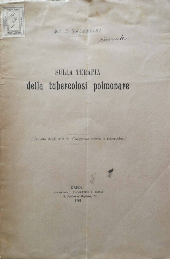 Sulla terapia della tubercolosi polmonare - Acquista libri..