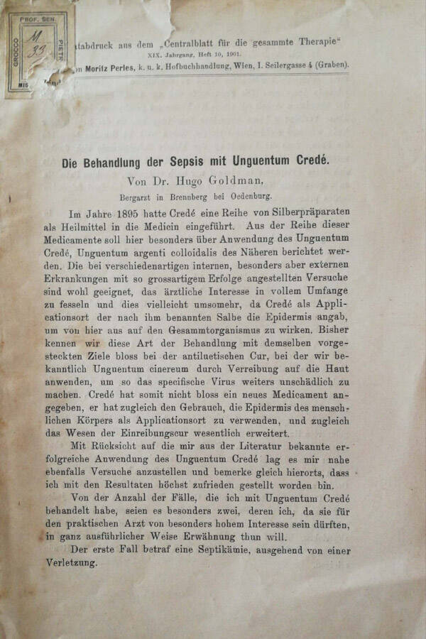 Die behandlung der sepsis mit unguentum credé