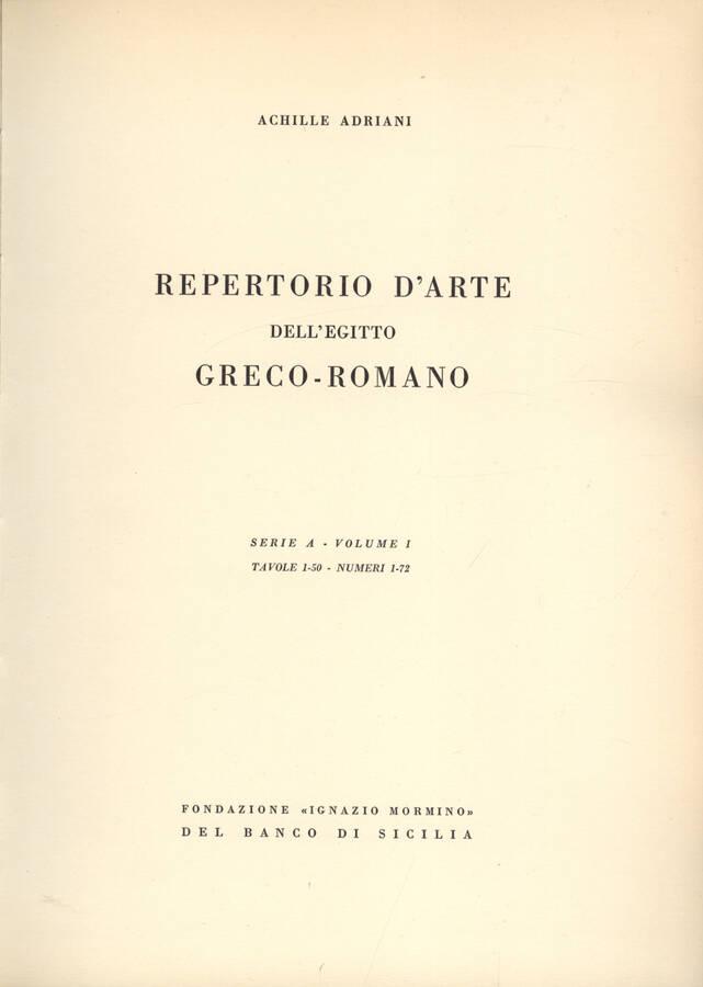 Repertorio d arte dell Egitto greco romano serie A volume I