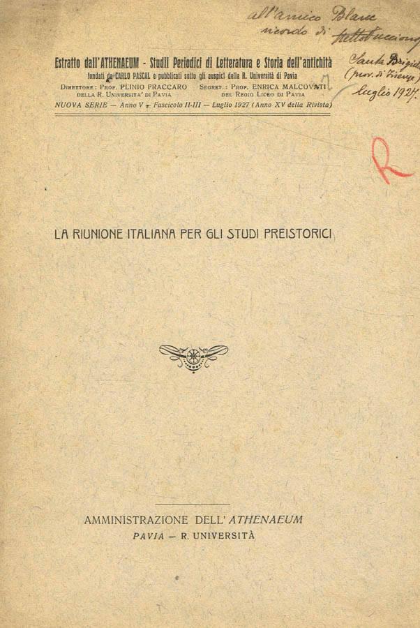 La riunione italiana per gli studi preistorici