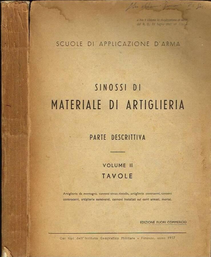 SINOSSI DI MATERIALE DI ARTIGLIERIA ( TAVOLE )( VOL. II ) - PARTE DESCRITTIVA