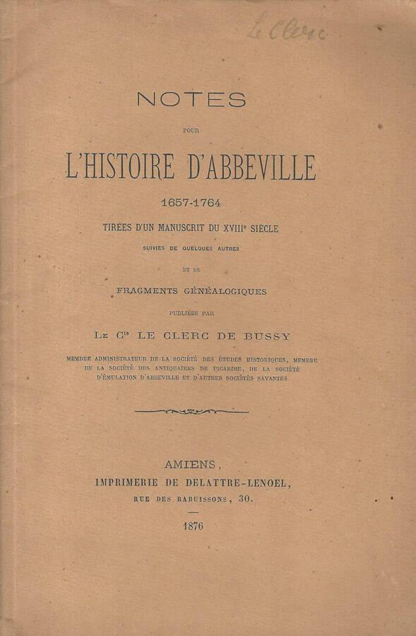 Notes de lhistoire dAbbeville 1657-1764