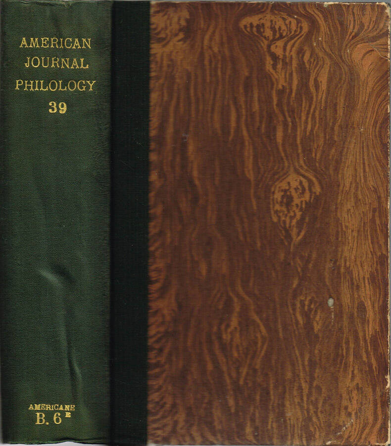 The American Journal of Philology - Vol. XXXV - N.os 137, 138, 139, 140; 1914