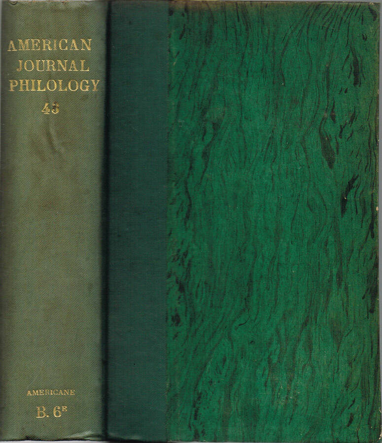 The American Journal of Philology - Vol. XLV - N.os 177, 178, 179, 180; 1924