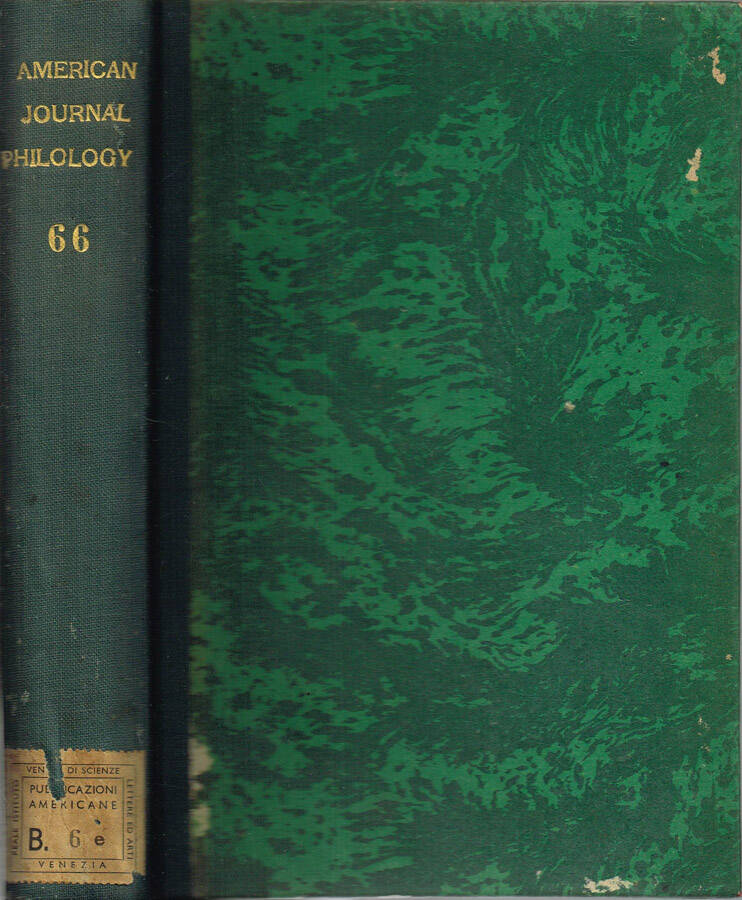 The American Journal of Philology - Vol. XLVIII - N.os 189, 190, 191, 192; 1927