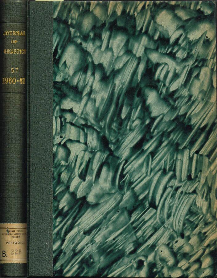 Journal of Genetics - Volume LVI - No. 1, July 1958, No. 2, May 1959, No. 3, December 1959