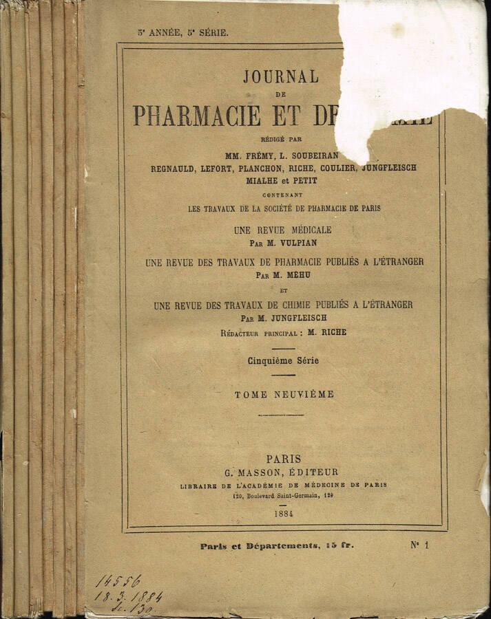 Journal de Pharmacie et de Chimie - Cinquième série - Tome Cinquième - Tome Sixième - 1882