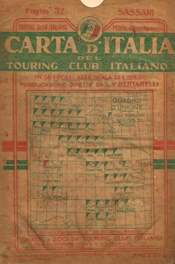 CARTA DITALIA DEL TOURING CLUB ITALIANO. SASSARI FOGLIO 32
